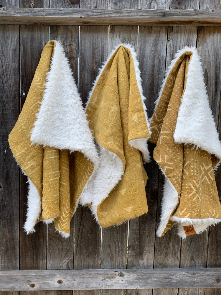 Image of BABY BLANKET - MUSTARD MUDCLOTH