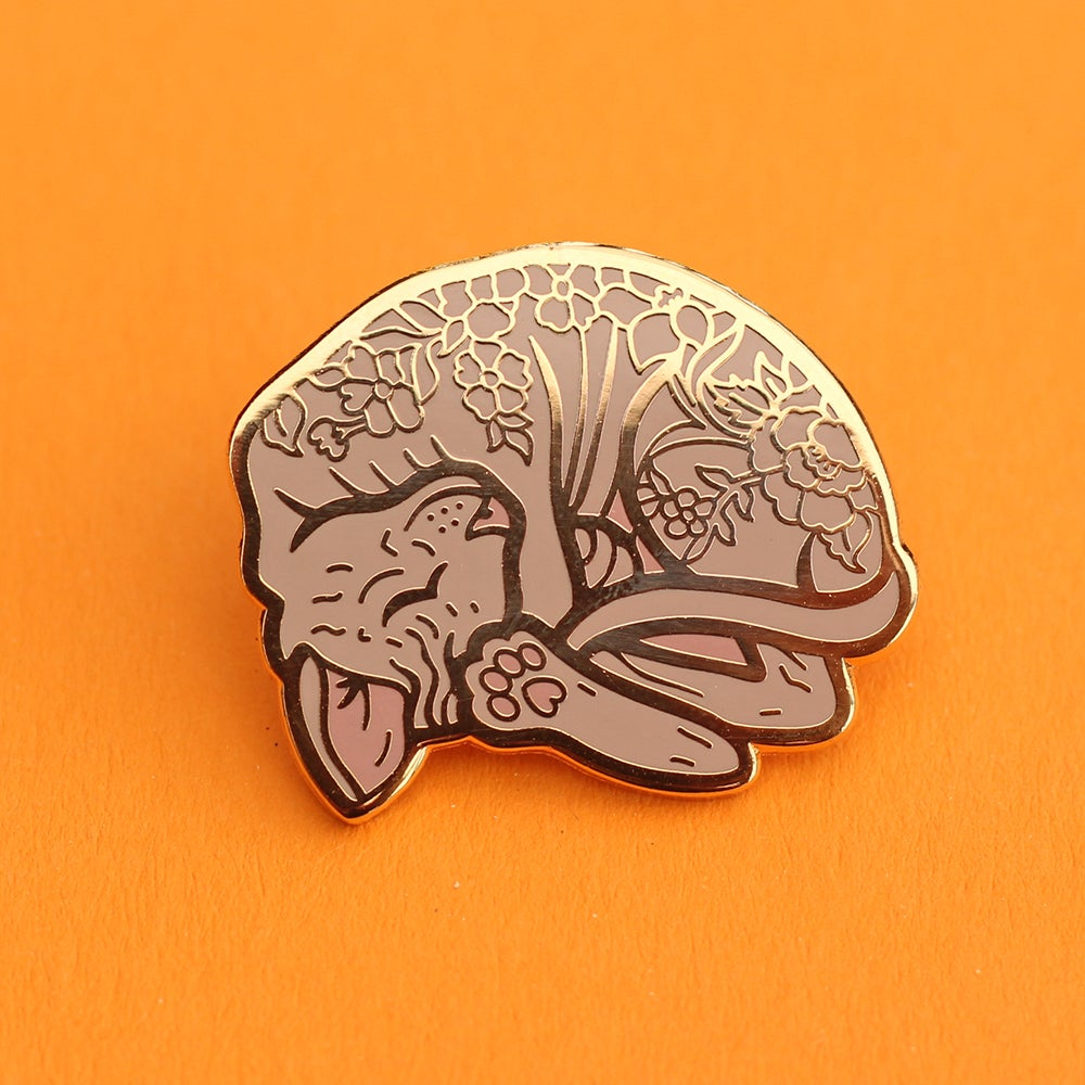 Image of Sleeping sphynx cat curled up, enamel pin - floral pin - sphynx cat - hairless cat - lapel pin badge