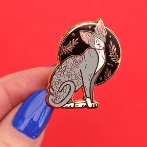 Image of Standing floral sphynx cat, enamel pin - floral pin - sphynx cat - hairless cat - lapel pin badge