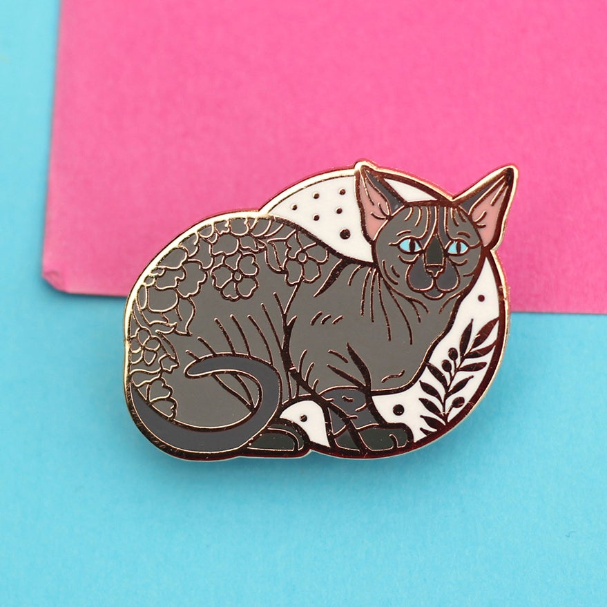 Image of Bambino sphynx cat, enamel pin - floral pin - sphynx cat - hairless cat - lapel pin badge