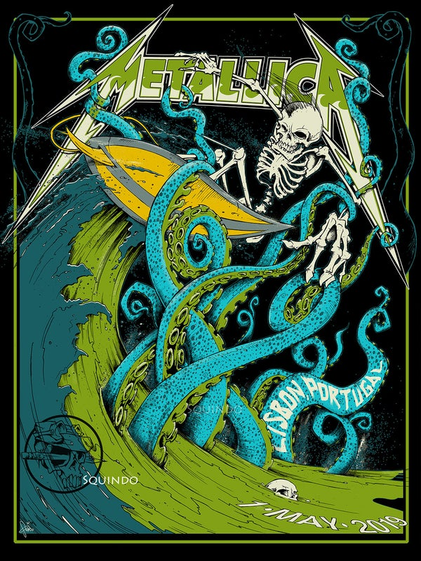 Image of Official Metallica 5/1/19 Lisbon, Portugal WHITE VARIANT