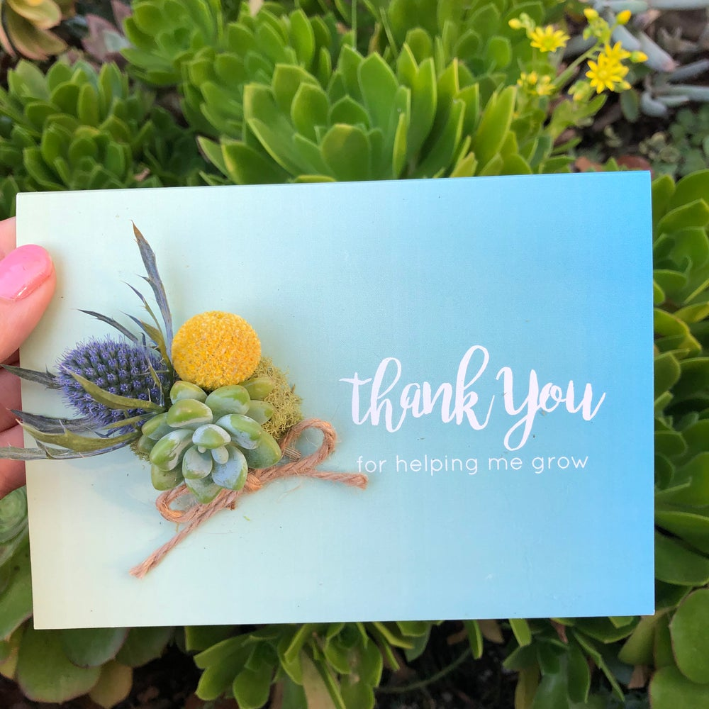 Image of Thank you for helping me grow- Living succulent card