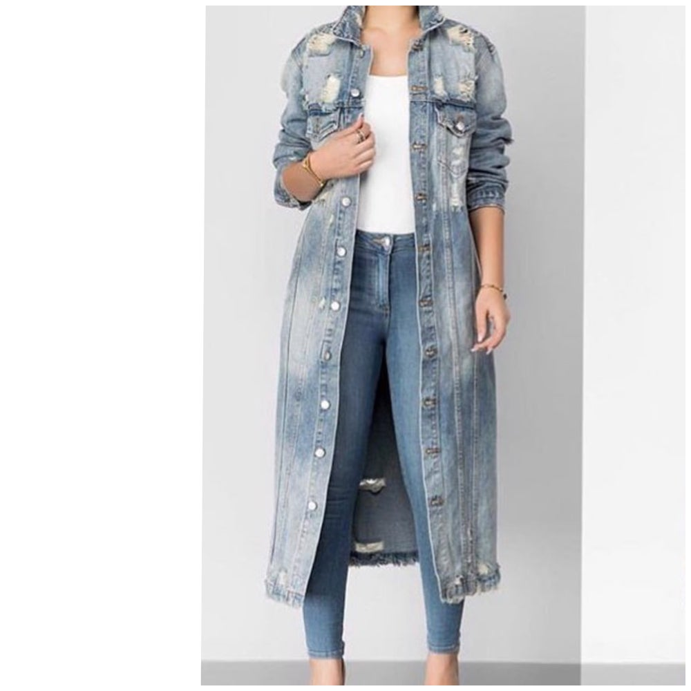 Image of Teigen Long Distressed Denim Duster