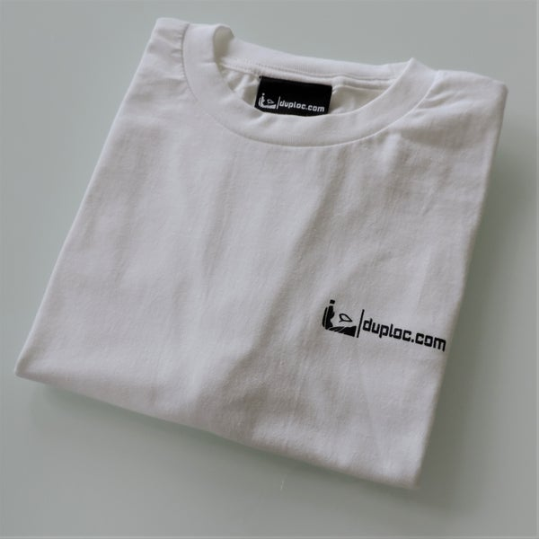 Image of white duploc.com t-shirt