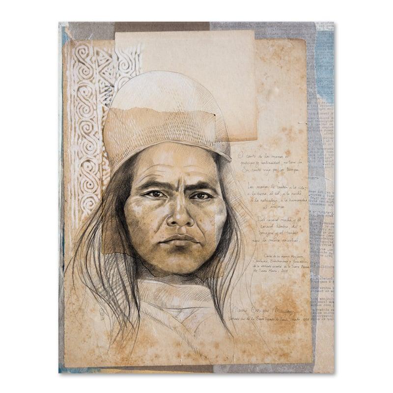 """Image of Original drawing - """"Mamo Enrique Marquez (Kogi)"""" - 40 x 50 cm"""