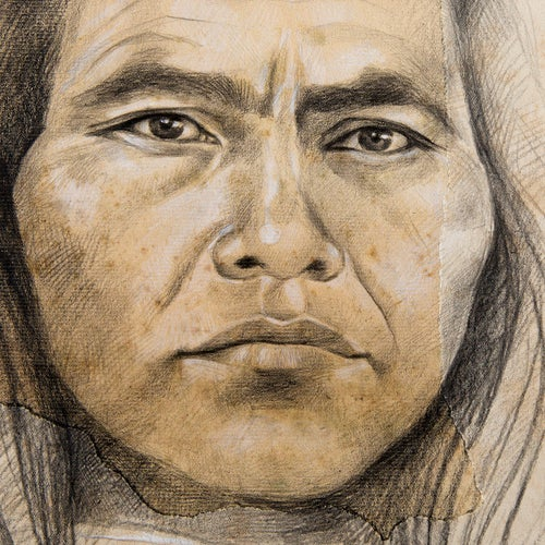 "Image of Original drawing - ""Mamo Enrique Marquez (Kogi)"" - 40 x 50 cm"