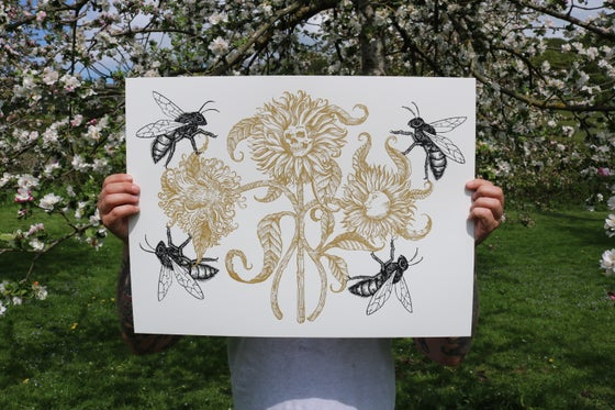 "Image of ""honey bloom"" limited edition screen  print"