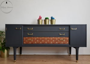 Image of G plan sideboard in grey and vintage gold