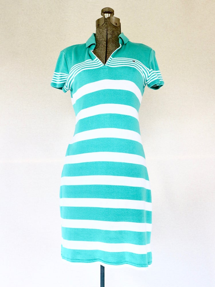 Image of Tommy Hiliger Striped Polo Dress — S