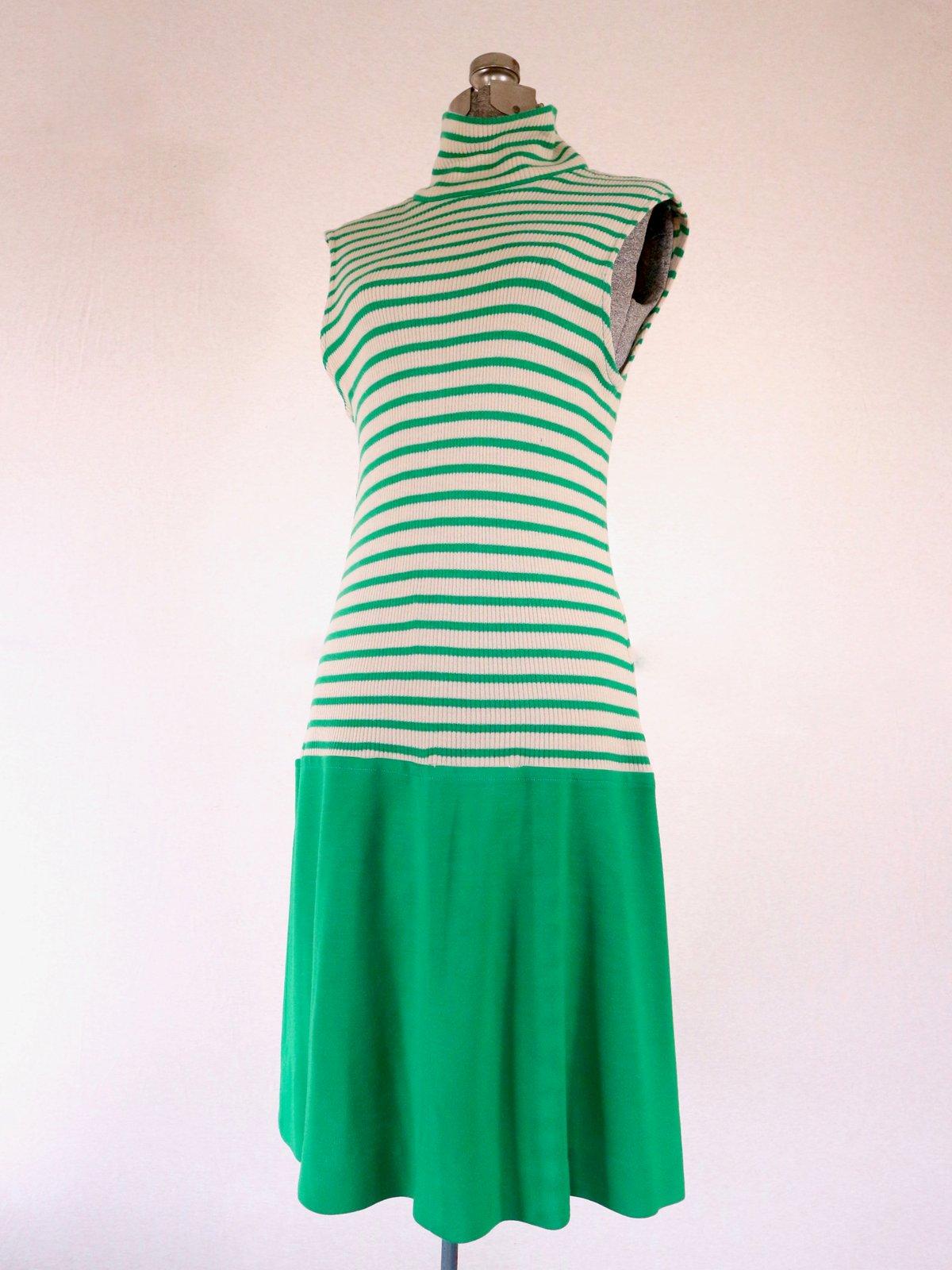Image of Green Striped Tennis Dress —M