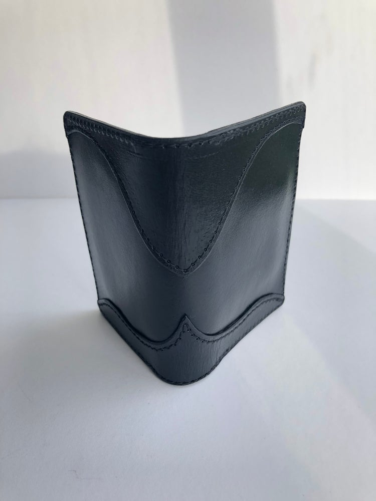Image of Black vertical folding wallet #66