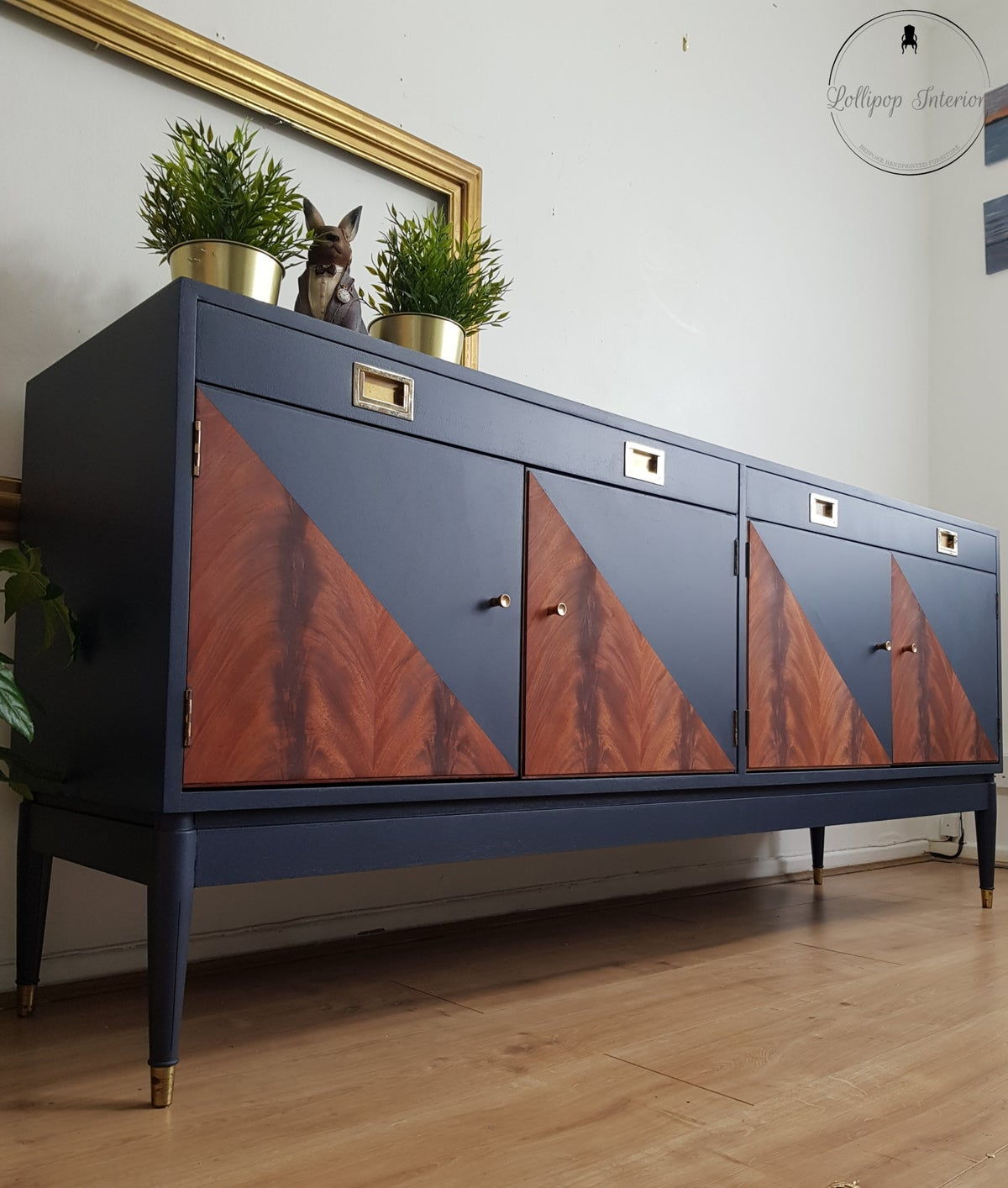 Image of Navy blue mid century sideboard with geometric design