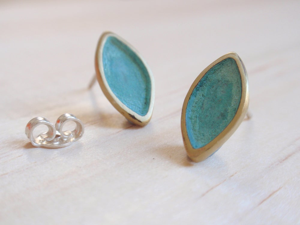 Image of Blue Green Ogival Stud Earrings