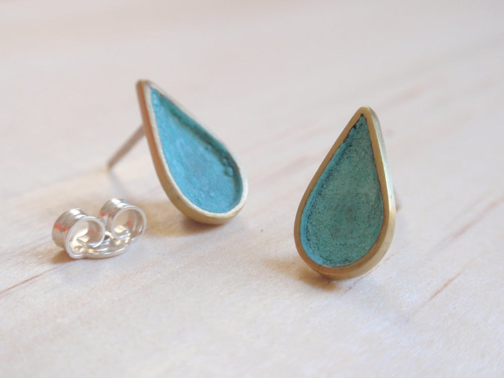 Image of Blue Green Teardrop Stud Earring