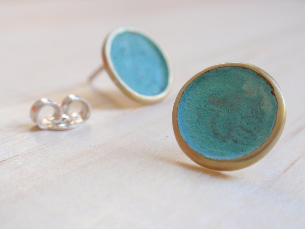 Image of Blue Green Circle Stud Earrings