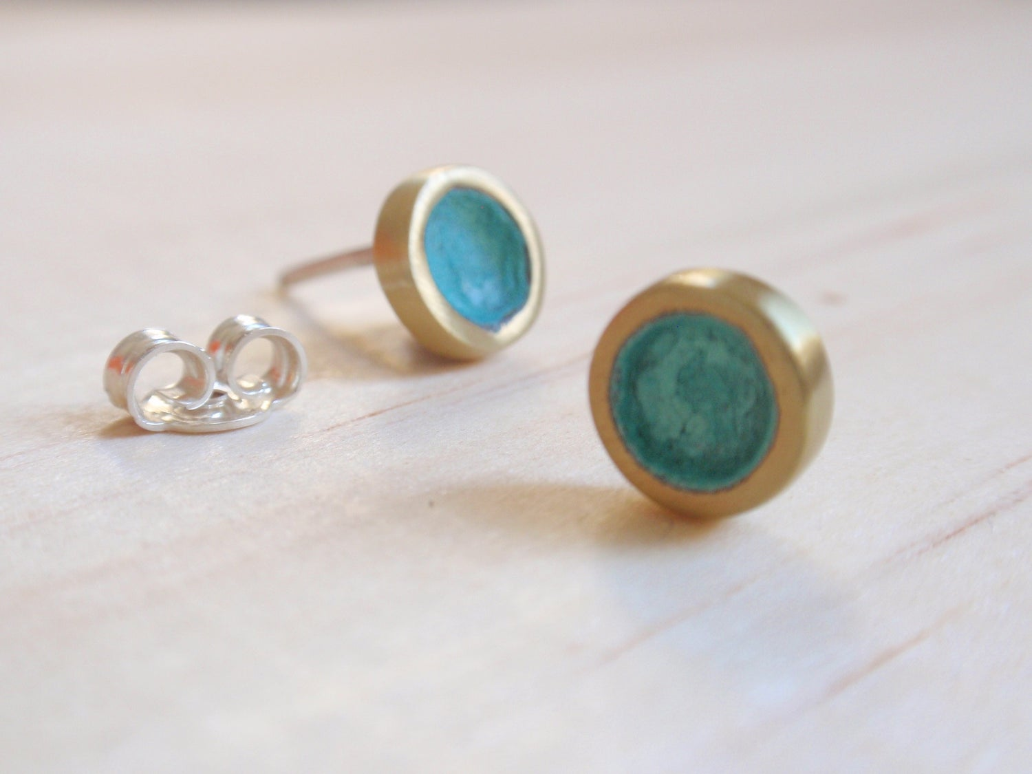 Image of Blue Green Tiny Circle Stud Earrings