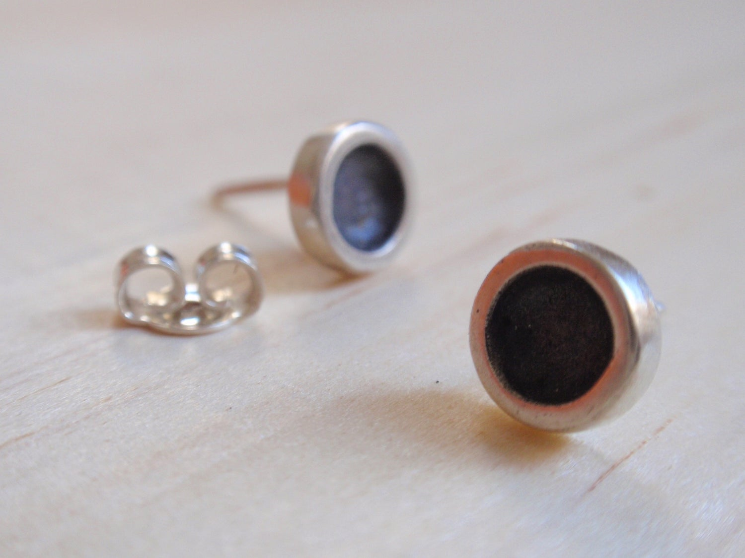 Image of Black Tiny Circle Stud Earrings
