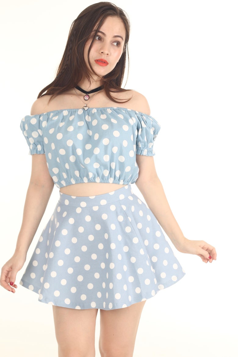 Image of Made To Order - Baby Blue Off Shoulder Set