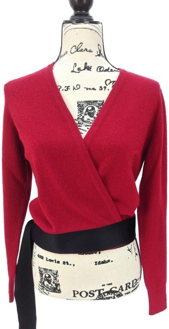 Image of Chanel Red Cashmere Cardigan/Sweater Wrap Cardigan