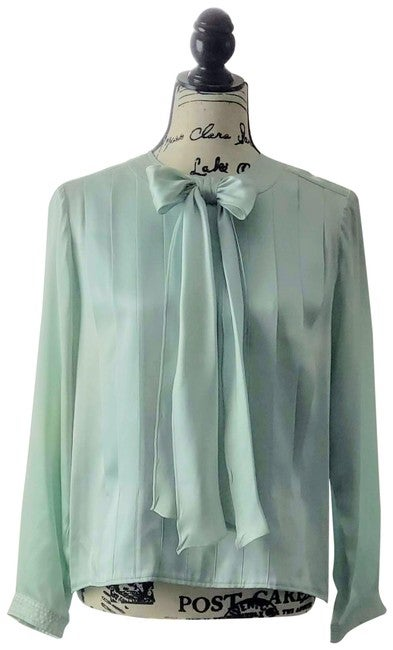 Image of Chanel Baby Blue Boutique 1980's Pleated Silk Blouse