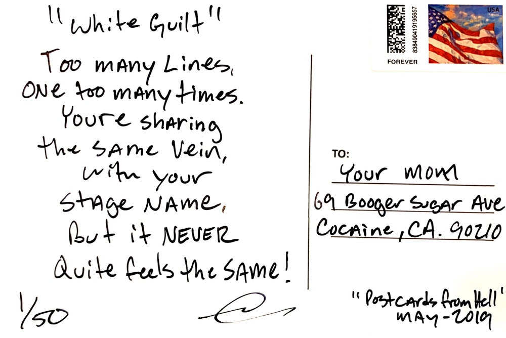 """Image of Postcards from Hell- """"White Guilt"""""""