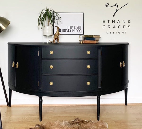Image of Bow fronted black & gold mahogany sideboard