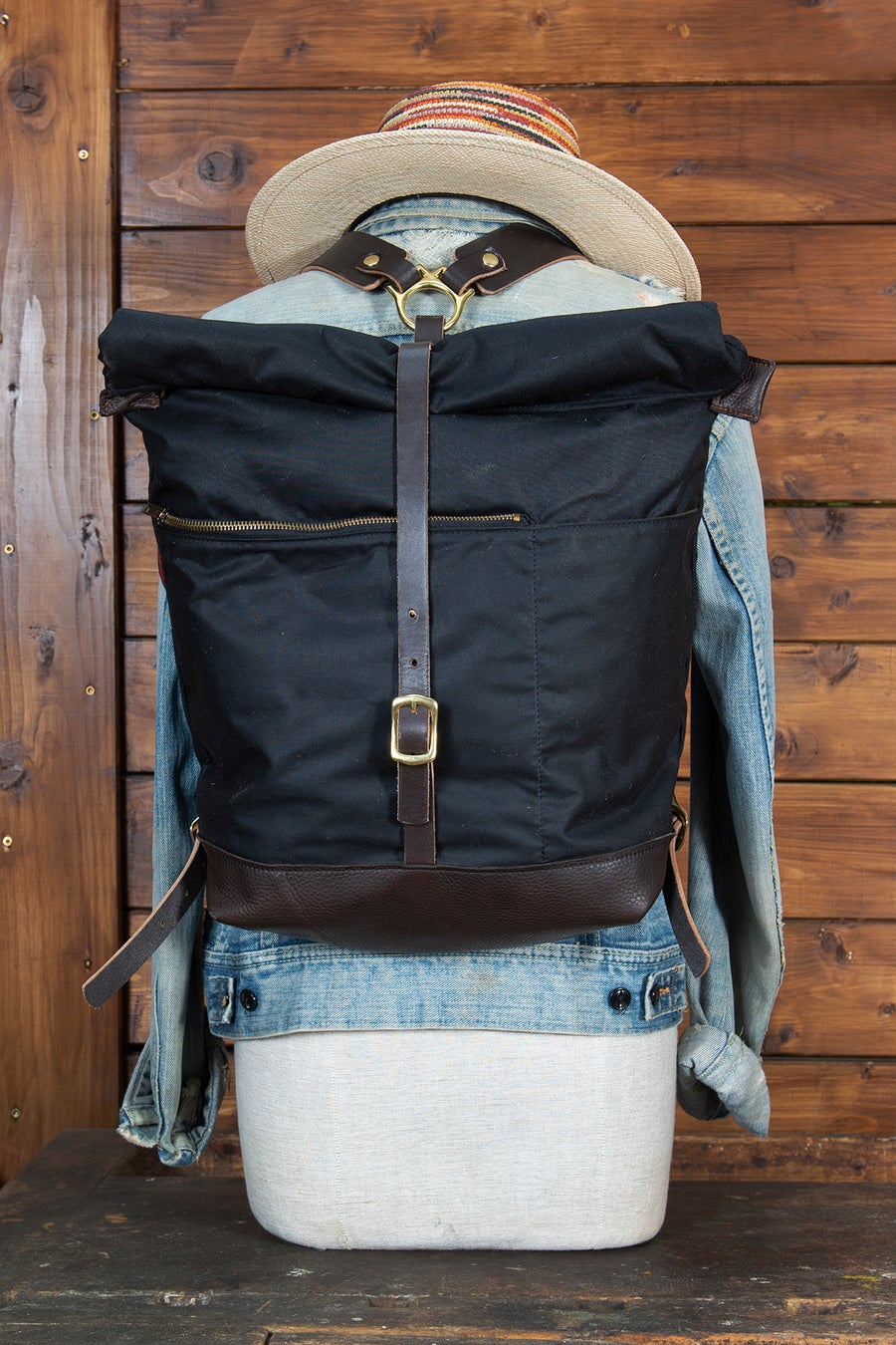 Image of Backpack black - Waxed Canvas Collection