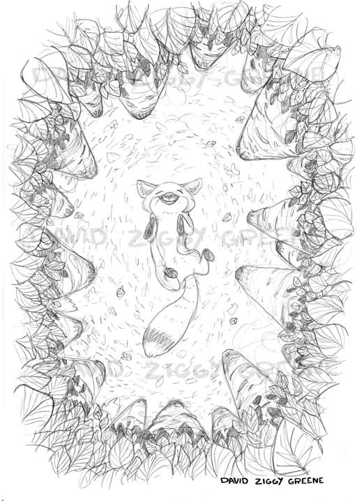 Image of Happy Fox in Birch trees - pencils print