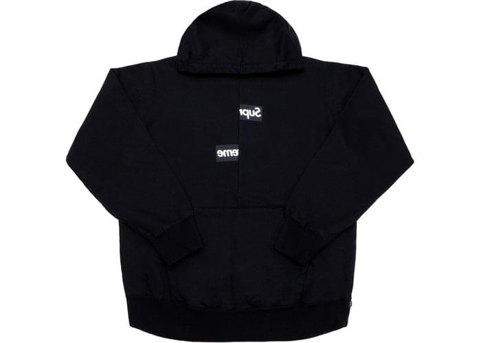Image of Supreme Comme des Garcons SHIRT Split Box Logo Hooded Sweatshirt Black