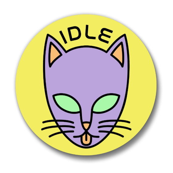 Image of Idle Alien Cat Pin - 1.25 Inch