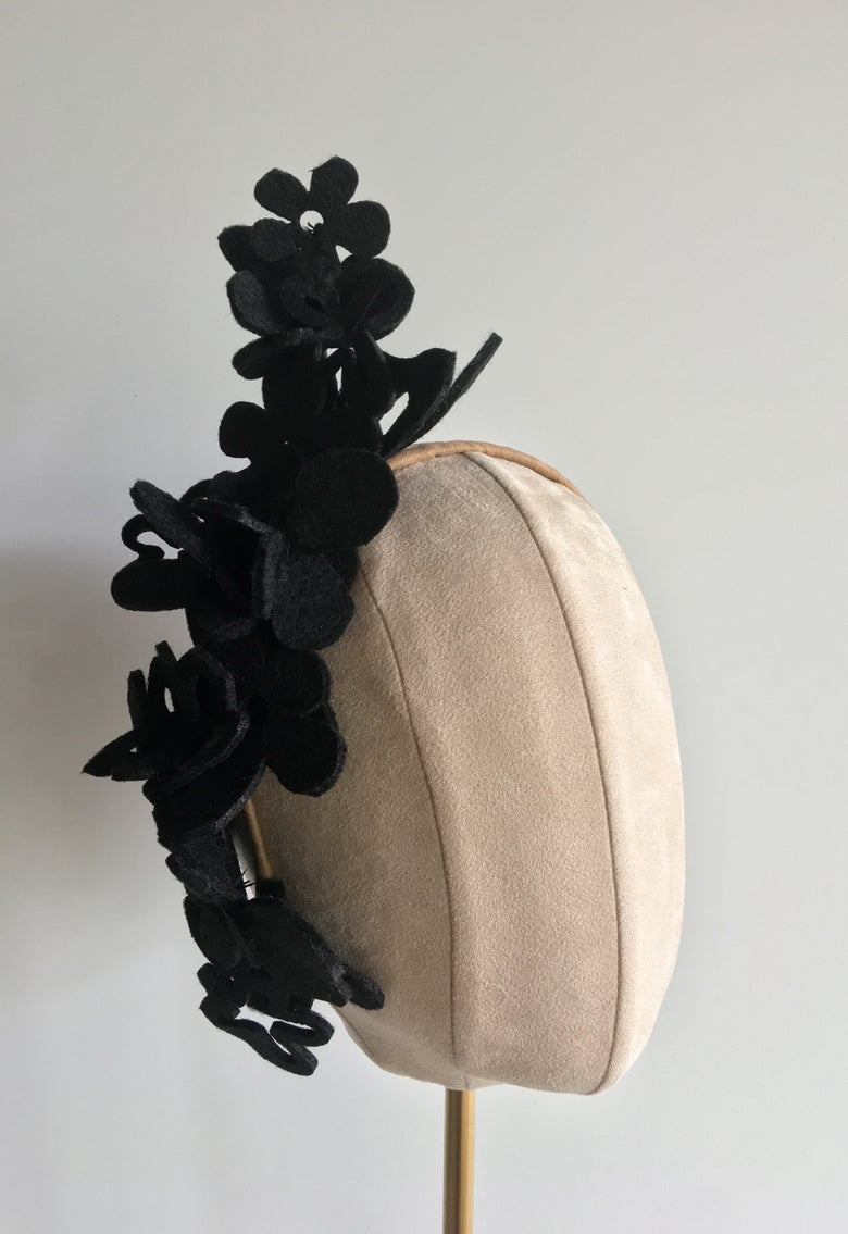 Image of Black felt flowers