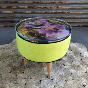 Image of Adeline Glass top coffee table / footstool