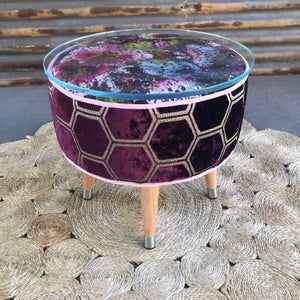 Image of Lacey Glass top table / footstool