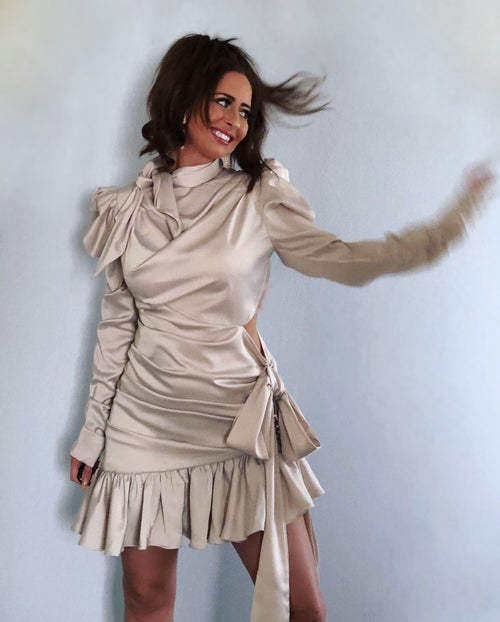 Image of Satin Asymmetric Puff Sleeve Dress