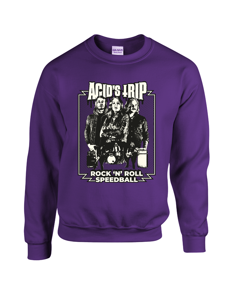 "Image of Sweatshirt ""Rock'n'roll Speedball"" PURPLE"