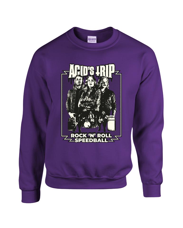"Image of Sweatshirt ""Rock'n'roll Speedball"" PURPLE"