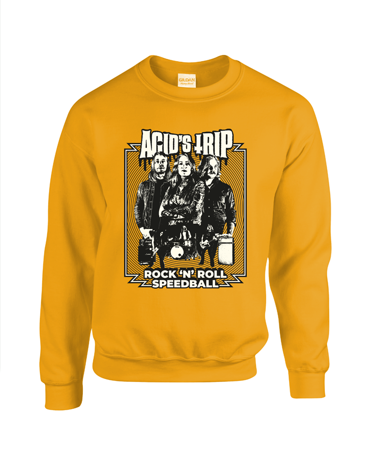 "Image of Sweatshirt ""Rock'n'roll Speedball"" YELLOW"