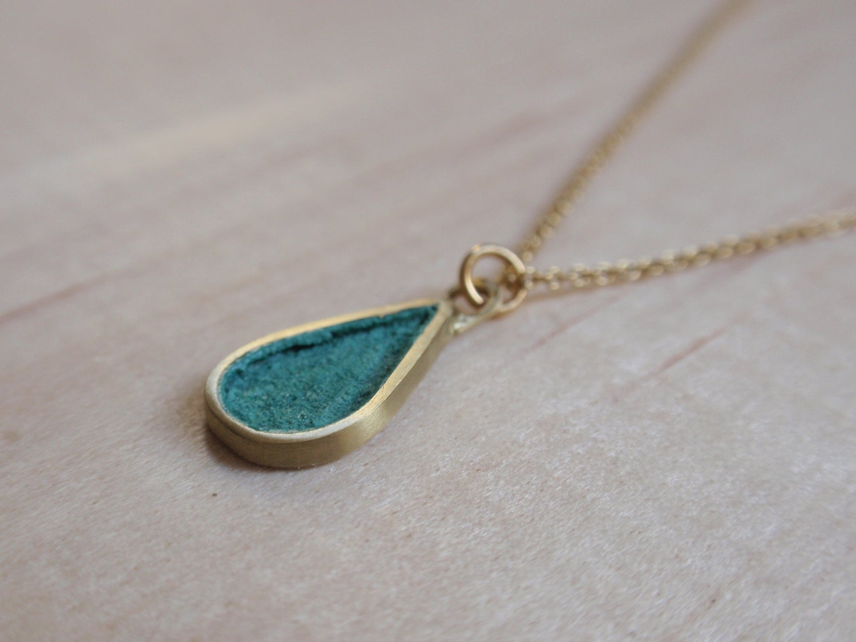 Image of Blue Green Teardrop Necklace