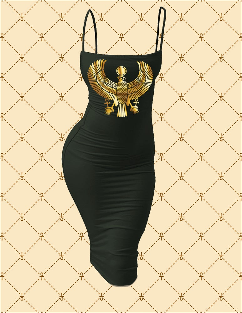 Image of NSC HRU Spaghetti Strap Bodycon Midi Dress