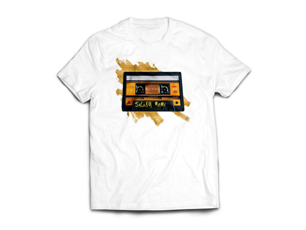 "Image of Adult White Personalized ""BeAt TaPe"" Tee"