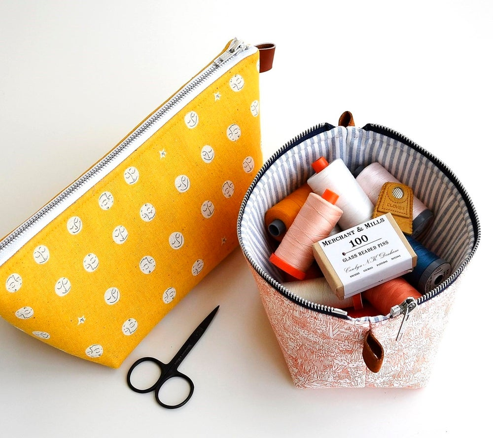 Image of Zippered Basket Pouch PAPER pattern