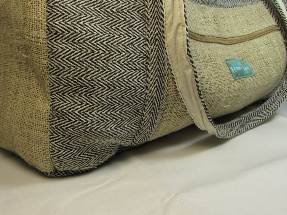 Hemp Duffel Bag - Onyx | 100% Vegan | Eco Friendly | Handmade | Weekend Holdall | Himalayan Hemp