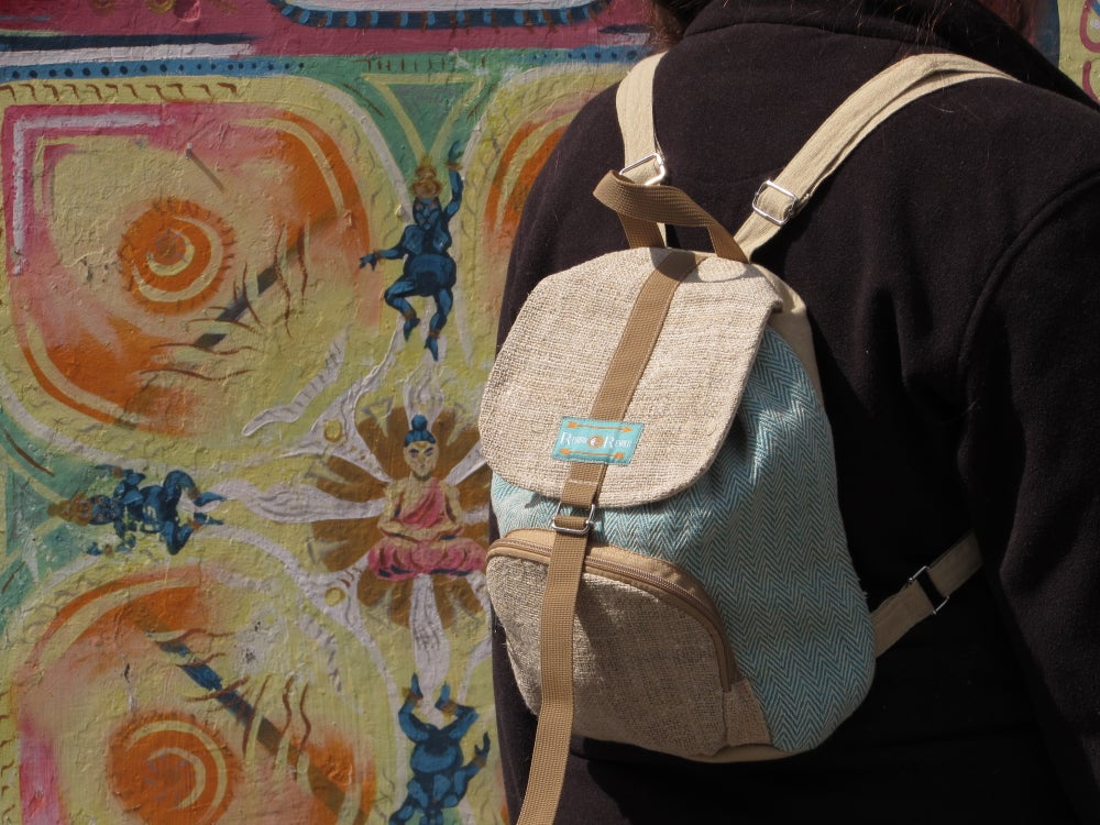 Moonchild Hemp Daypack - Turquiose | 100% Vegan | Eco Friendly | Handmade | Himalayan Hemp