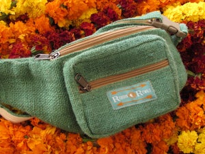 Image of Organic Hemp Bumbag - Jade | 100% Vegan | Eco Friendly | Handmade | Money Belt | Himalayan Hemp