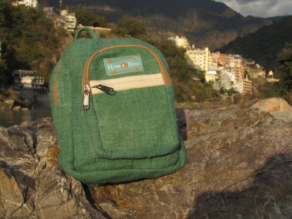 Image of Pure Hemp Mini Backpack - Jade | 100% Vegan | Eco Friendly | Handmade | Himalayan Hemp