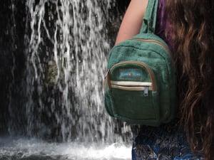 Image of Pure Hemp Mini Backpack - Jade   100% Vegan   Eco Friendly   Handmade   Himalayan Hemp