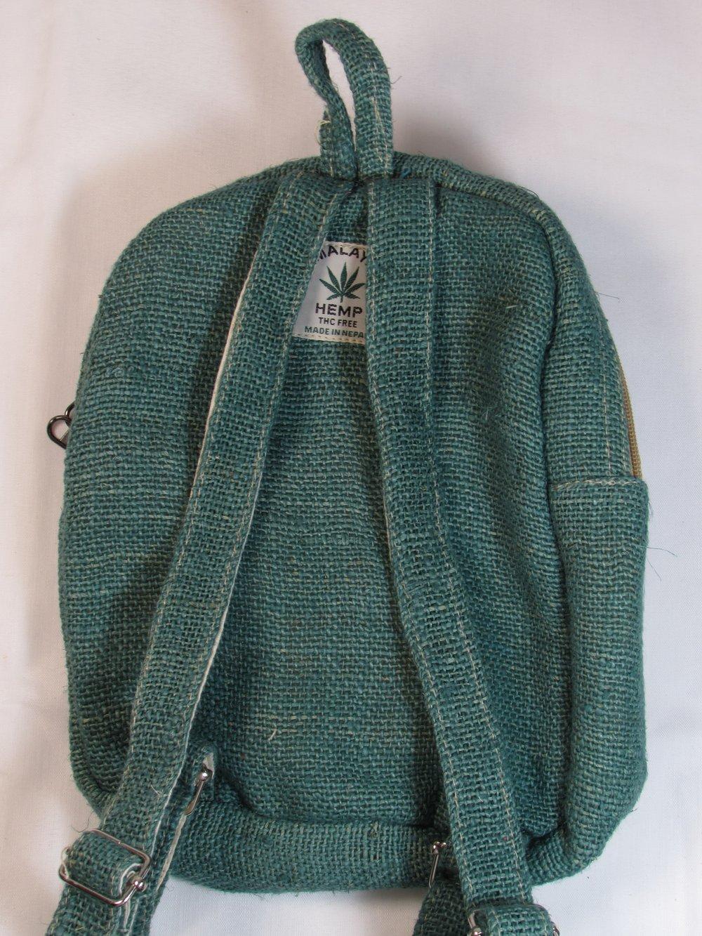 Jade - Pure Hemp Mini Backpack | 100% Vegan | Eco Friendly | Handmade | Himalayan Hemp