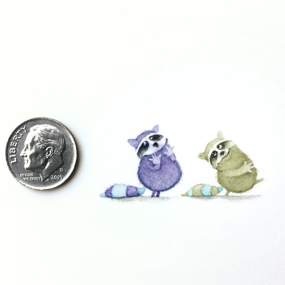 Image of Like This: Original Tiny Raccoons Watercolor