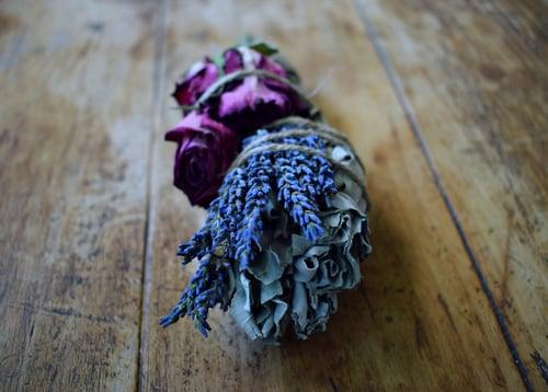 Image of Goddess Floral Sage Smoke Wand   organic White Sage, lavender flowers, rose buds