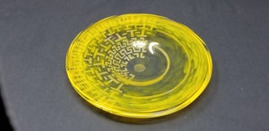 Image of Yellow plate with ancient Greek motif etching